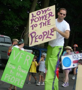 Rallying in celebration of LPFM. Florence, MA, 2005. Author photo.