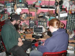 Electronics tinkering in a home. Philadelphia, PA, early 2000s. Volunteer photo.