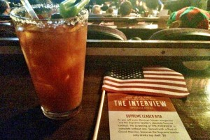 Miniature American flags and themed mixed beverages from the Alamo Drafthouse's Christmas Day screening of The Interview. Courtesy of Lana Berry.